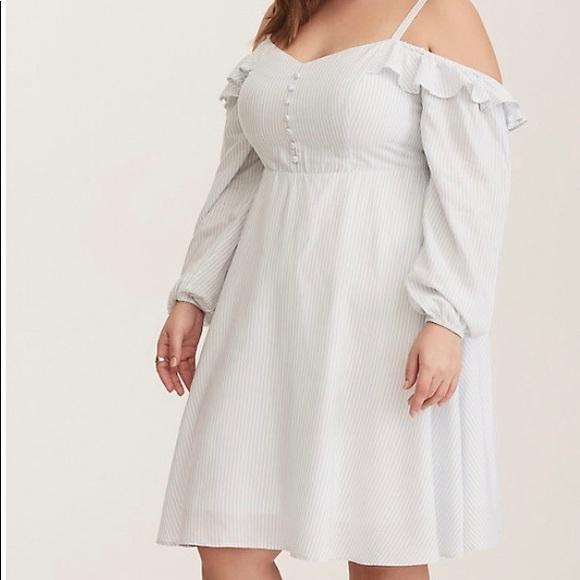 Torrid blue white striped dress